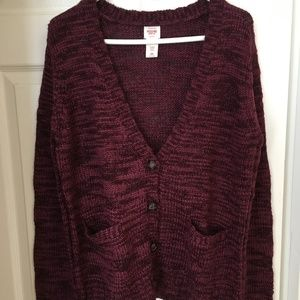 Mossimo Supply Co. Burgundy Marled Cardigan